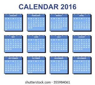 Calendar 2016 yearly plan vector illustration