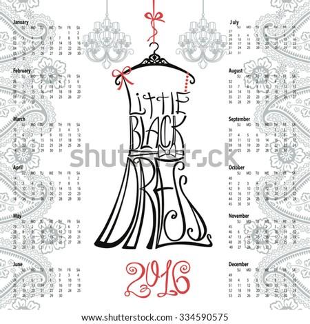 Calendar 2016 Year Typography Dress Designpaisley Border Lettering