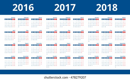Calendar 2017, 2018, 2016 layout template design simple vector. Week start on Monday.