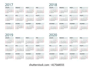 Calendar 2017,  2018,  2019, 2020