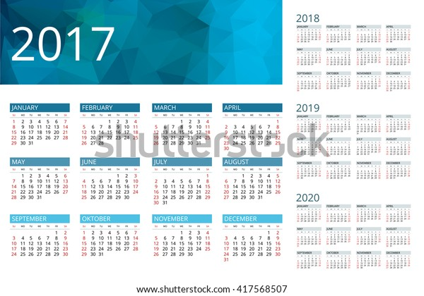 Image Vectorielle De Stock De Calendrier 2017 2018 2019