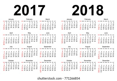 Calendar for 2017 and 2018 with white background.