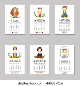 Calendar for 2017 with cute season girl. Vector illustration