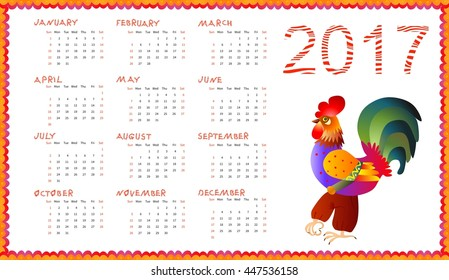 Calendar 2017 with fairy cockerel isolated on white - chinese symbol of new year. Week starts on sunday. Vector illustration.