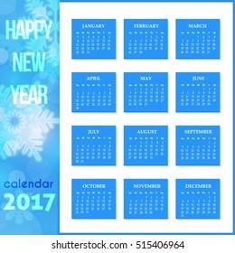 Calendar 2017 Full Template, Promotion Poster Vector Design - Week Starts Sunday