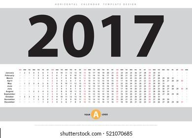 Calendar 2017 horizontal template design. Vector eps10