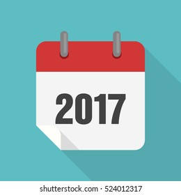 Calendar 2017 icon flat design isolated with long shadow, vector  illustration
