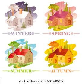 Calendar 2017 icon set vector illustration. Four season country landscape banner. Spring summer fall winter. Farmhouse villa landscaped garden, farm field. Symbols - cristmas tree, bicycle, duck, lamb