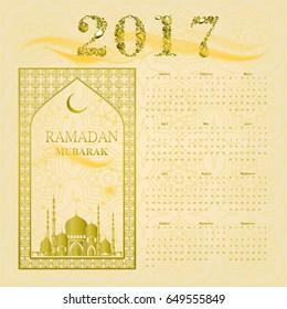 Calendar 2017. Masjid background. Islam. Arabic. Indian. Turkish. Vector illustration. Muslim holy month Ramadan Kareem. greetings card, poster, banner. Falling Gems Abstract Background. Diamond.