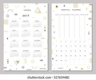 Calendar 2017 and Monthly Planner. Creative memphis style template. Modern geometric gold, crystal design. Vector. Isolated