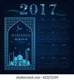 Calendar 2017. Mosque background. Islam. Arabic. Indian. Turkish. Vector illustration. Muslim holy month Ramadan Kareem. greetings card, poster, banner. Falling Gems Abstract Background. Diamond.