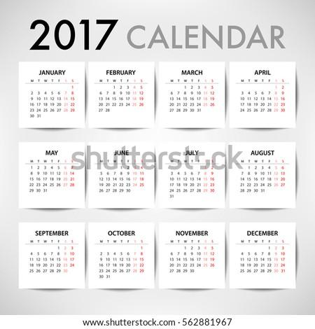 calendar 2017 organization business week starts stock vector