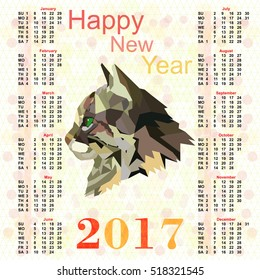 Calendar for 2017 with a picture of Cat polygon