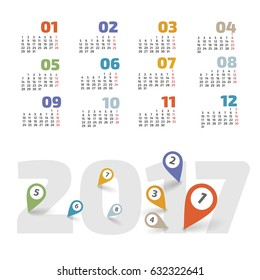 Calendar for 2017 with pointers