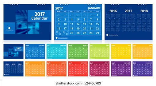 Calendar 2017 set include 12 months front cover and back cover 3 years. Desk calendar corporate design layout template vector week start on Monday. EPS-10