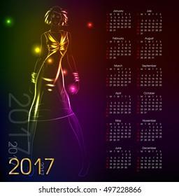 Calendar 2017. Sketch. Fashion model from a neon. A light girl's