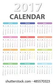 calendar for 2017 starts monday