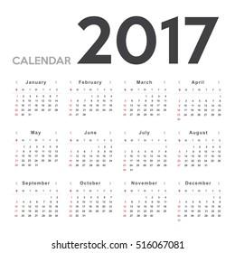 Calendar 2017 template design. Week starts from Sunday. Calendar Vector  eps10