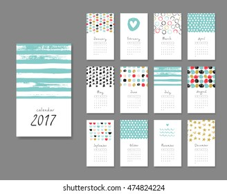 Calendar 2017. Templates with creative hand drawn textures. Vector illustration. . Blue, pink, black and gold colors.