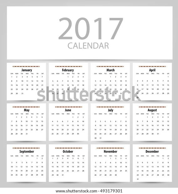 Calendar for 2017. Vector EPS10.