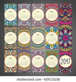 Calendar 2017. Vintage decorative elements. Oriental pattern, vector illustration. Islam, Arabic, Indian, turkish, pakistan, chinese, ottoman motifs