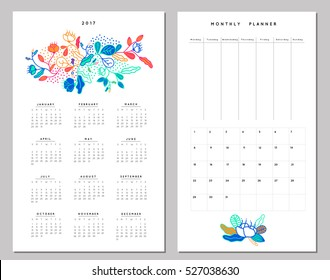 Calendar 2017 and Weekly Planner. Creative neon colors template with leaves and flowers. Modern graphic design. Hand Drawn nature elements. Vector. Isolated