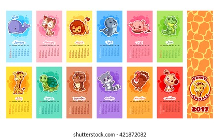 Calendar for 2017 year with animals. Week Starts Sunday. Funny cartoon characters. Vector calendar template for kids.