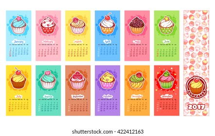 Calendar for 2017 year with cupcakes. Week Starts Sunday. Delicious cartoon sweets. Vector calendar template for kids.