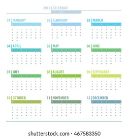 Calendar 2017 year grid design isolated on white background. English language. Week starts monday. Holidays are not marked. Vector calendar for year 2017 Template. Set of 12 Months