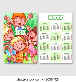 Calendar for 2017 year with happy children. Week Starts Monday. Funny cartoon characters. Vector calendar template vertical orientation.