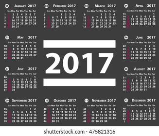 Calendar of 2017 year on sample gray background. Vector illustration. EPS10. Template for Your concept Design.