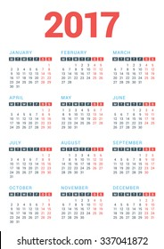 Calendar for 2017 Year on White Background. Week Starts Monday. Vector Design Print Template