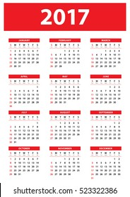 Calendar for 2017 Year on White Background. Week Starts on Sunday. Simple Red Designed calendar. Vector Print Template