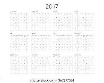 Calendar 2017 year simple style with grid. Week starts from sunday