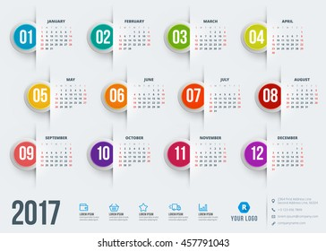 Calendar for 2017 year. Vector design stationery template. Week starts Sunday. Flat style color vector illustration. Yearly calendar template