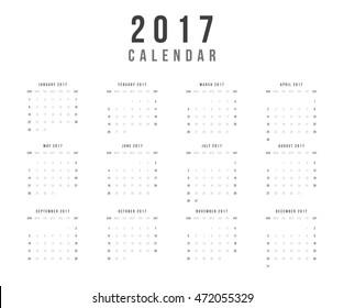 Calendar 2017 year vector design template - Minimalism Style