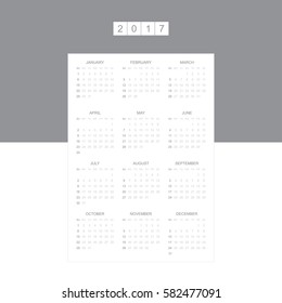 Calendar for 2017 Year. Week starts monday. Vector template for business graphics.