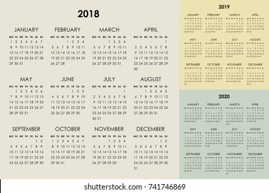 Calendar for 2018, 2019, 2020 years. Week starts monday