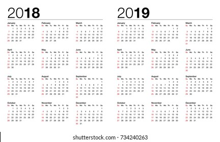 calendar for 2018 and 2019