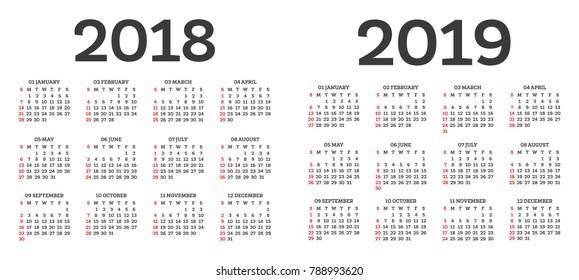 2018 2019 Calendar Images, Stock Photos & Vectors | Shutterstock