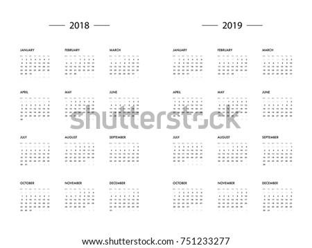 calendar 2018 2019 year template vector のベクター画像素材