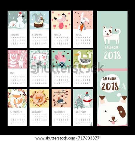 calendar 2018 animal templatebanner patternlabel