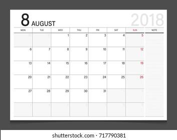 Calendar 2018 August week start on Monday corporate design template vector.