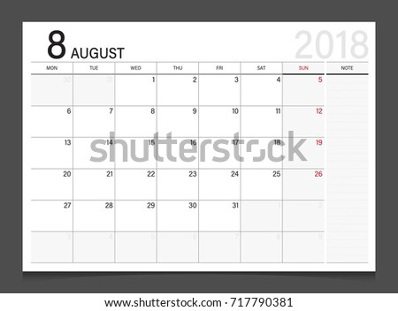 Calendar 2018 August Week Start On Stock Vector Royalty Free