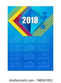 Calendar 2018 blue background. Bright hipster modern design, business calendar.