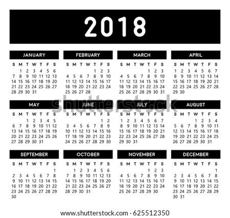 Calendar 2018 Colorful Vector Template Eps 10 Stock Vector Royalty