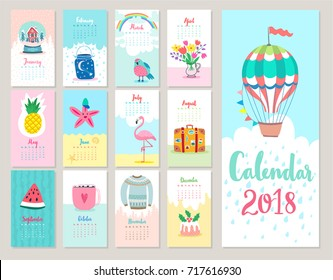 Calendar 2018. Cute monthly calendar with.