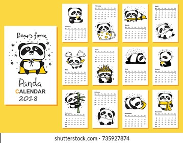 Calendar 2018. Cute pandas for every month. Vector. Isolated.