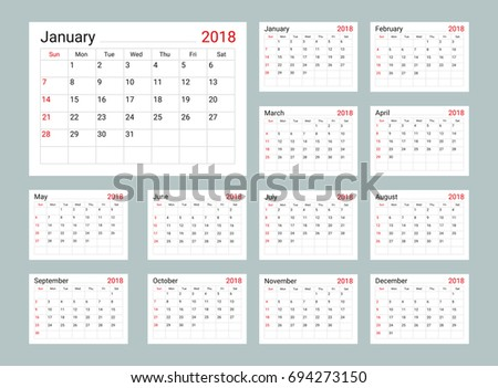 calendar 2018 daily planner template organizer stock vector royalty