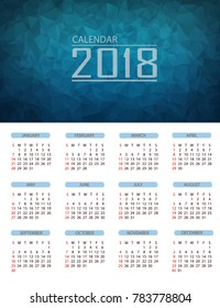 Calendar 2018 Design polygon background template,